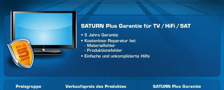 Saturn Plus Garantie TV / Hifi / SAT